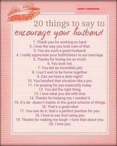 20 things to Encourage your husband