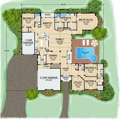 Villa Serego House Plan: 1 story, 3523 square foot, 4 bedroom, 3 full bathrooms home plan
