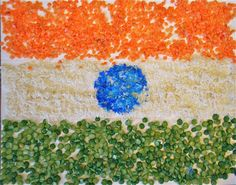 "Tactile ""Flag of India"" from lentils, split peas and rice, plus the meaning & symbolism behind the flag"