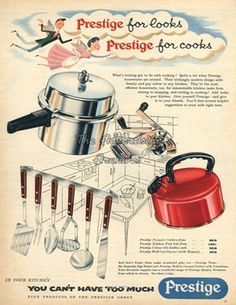 Buy cookware, pressure cookers, spares and electricals Kitchen Board, Kitchen Tools, Vintage Advertisements, Vintage Ads, Prestige Pressure Cooker, 1960s Britain, Cooking Foil, Life In The 1950s, Magazine Advert