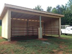 "Brilliant run-in shed, which can also be set up as one large stall or two smaller ones, so that horses may be confined, if necessary. These gates can swing back against the walls and be latched open to provide a safe open shelter when the ""stalls"" are not needed."