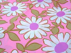 Vintage Fabric  Mod Hot Pink Daisies By the Yard x by NehiandZotz, $12.00