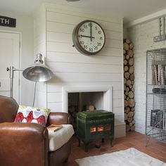 Living room | Urban cottage house tour | housetohome.co.uk    Logs in narrow alcove