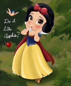Snow White - Apple Dilemma by artistsncoffeeshops on DeviantArt Yes Snow. Yes you do. /s I haven't drawn Snow White ever, so why not. Hope ya like her! Disney Princess Babies, Disney Princess Pictures, Disney Princess Tattoo, Disney Princess Drawings, Punk Princess, Baby Disney Characters, All Disney Princesses, Disney Villains, Images Disney