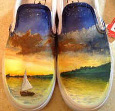 Owl City All Things Bright and Beautiful Custom Hand-painted Shoes Painted Vans, Painted Canvas Shoes, Painted Sneakers, Painted Clothes, Hand Painted Shoes, Owl Shoes, Custom Vans Shoes, Cute Vans, Owl City