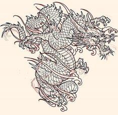 Chinese Dragon Art, Japanese Dragon Tattoos, Japanese Tattoo Designs, Japanese Tattoo Art, Tattoo Sketches, Tattoo Drawings, Body Art Tattoos, Sleeve Tattoos, Dragon Tattoo Drawing