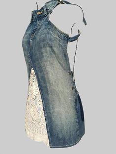 jeans dress 'dokjurk', loose fit, A-line shape: MADE TO ORDER - Jeans Kleid 'Dokjurk' lockere Passform a-line Form Vêtement Harris Tweed, Denim Ideas, Denim Crafts, Clothes Refashion, Refashion Dress, Jeans Refashion, Old Jeans, Jeans Fit, Clothing Hacks