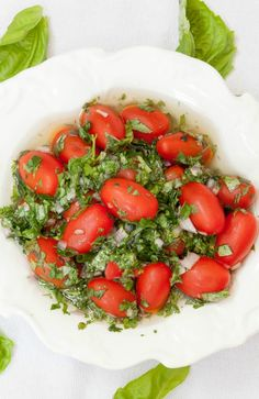 Herb Marinated Grape Tomatoes - Low Calorie, Low Fat, Healthy Recipe - eat them as is or put them on salads or on top of chicken. So versatile. Grape Tomato Recipes, Fruit Recipes, Vegetable Recipes, Salad Recipes, Cooking Recipes, Good Healthy Recipes, Low Calorie Recipes, Healthy Snacks, Healthy Eating