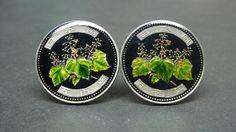 Japan enamelled coin cufflinks 500 Yen  Pawlownia by wowcoin, $52.00
