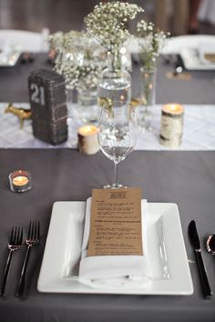 Playful and modern menu and table setting at Chicago wedding, photos by The Rasers   via junebugweddings.com