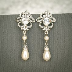 Bridal Earrings Wedding Earrings Swarovski by GlamorousBijoux