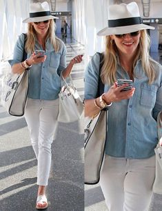 Looks de altos vuelos I like the denim shirt, white jeans. This is all my style. Outfits With Hats, Cool Outfits, Casual Outfits, Looks Chic, Looks Style, Look Fashion, Fashion Outfits, Womens Fashion, Street Fashion