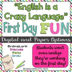 """First Day English Class- """"English is a Crazy Language"""" (Paper & Digital Options) Poems In English, English Fun, English Class, English Language, Idioms Activities, First Day Activities, School Lessons, One Day, Fun Learning"""