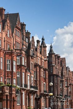 Queen Anne style Dutch gabled buildings along Pont Street in Kensington and Chelsea London England
