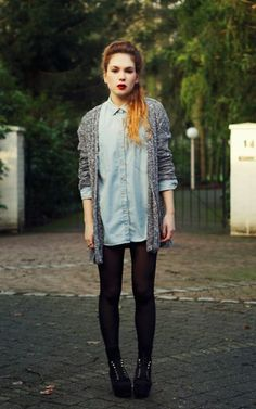 Cardigan over denim shirt