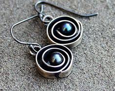 Pearl Earrings - Black Pearl Earrings - Sterling Silver Black Pearl Earrings - Modern Pearls - Round Pearl Dangles - Silver Pearl Earrings