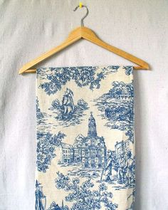 Simply Toile  fabric .. X ღɱɧღ     Early American charm.    Two heavy drapes\/curtains with gorgeous navy blue toile pattern. Fabric has grain sack\/burlap\/homespun texture  Printed