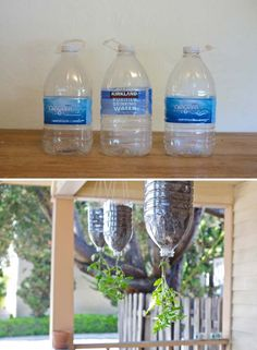 Don't throw away those empty plastic water bottles, as they can be turn into cute tomato planters hung from a deck or front porch.