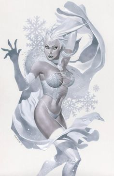 Emma Frost, The White Queen // tools of choice: Prismacolor cool greys, Dr. Martin's Bleed Proof White paint and color pencil on vellum bristol board // painted artwork by Chris Stevens Marvel Comics, Marvel Comic Books, Comic Books Art, Comic Art, Emma Frost, Marvel Girls, Comics Girls, Gi Joe, X Men