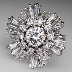 Vintage Ballerina Engagement Ring 14K White Gold - EraGem