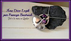 Collier clé de l'âme chaîne collier et perles mauve 2 tons, pendentif cadenas et clé ton argent antique, cadeau, hôtesse, anniversaire, noël