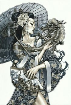 Mark Brooks Monsters and Dames Emerald City Con Con 2015 Cover Geisha Girl Dragon – Tattoo Sketches & Tattoo Drawings Geisha Tattoos, Geisha Tattoo Design, Maori Tattoos, Arabic Tattoos, Asian Tattoos, Geisha Tattoo For Men, Geisha Tattoo Sleeve, Men Tattoos, Tattoos For Guys