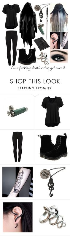 """Death Eater"" by x-sweetea-x ❤ liked on Polyvore featuring ...Lost, Free People, J Brand and Dr. Martens"