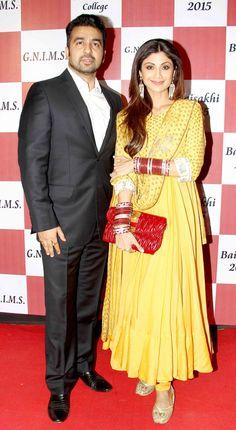 Shilpa Shetty and husband Raj Kundra at Baisakhi 2015. #Bollywood #Fashion #Style #Beauty