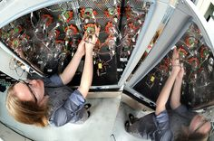 Argonne's Lynn Trahey prepares lithium-oxygen batteries for controlled environment testing.