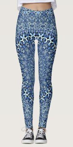 Shop Blue Geometric Petal Mandala Leggings created by ZyddArt. Blue Leggings, Printed Leggings, Bohemian Design, Bohemian Style, Clothing Apparel, Yoga Fashion, Apparel Design, Leggings Fashion, Boho Outfits