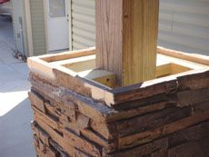 Stronger column installation will be formed using a slight twist for better contact between the panel, adhesive and plywood. Deck Posts, Porch Posts, Front Porch Columns, Porch Pillars, Wood Columns, Column Wrap, Faux Panels, Fabric Panels, Do It Yourself Baby