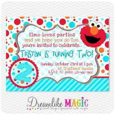Printable Party Invitation-Elmo Blue Orange and Red Design. $15.00, via Etsy.