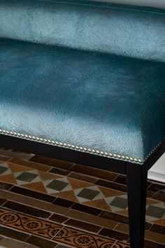 Edwardian hallway tiles with beautiful teal blue velvet bespoke bench Edwardian Hallway, Edwardian House, Tiled Hallway, Hallway Furniture, Blue Velvet, Vanity Bench, Teal Blue, Townhouse, Bespoke