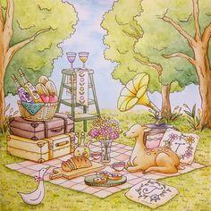 『草原のピクニック』 . 前回学んだことをちゃんと活かすため、木や草のもさもさ感や、鹿さんの毛並みを意識して塗りました(•ө•) 質感を意識するだけで、結構雰囲気変わるかも……!💡 . #ロマンティックカントリー #大人の塗り絵 #コロリアージュ #romanticcountry #水彩色鉛筆 #coloriage