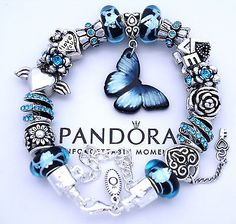 Authentic Pandora Silver Charm Bracelet with European Charms Butterfly Love