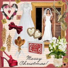 Mood board: Festive fancy  Add pops of red and white to natural wood for a rustic reception worthy of the festive season.