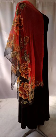 Shawl.Natural silk shawl  floral black-red hand painted