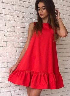Cotton Solid Sleeveless Above Knee Casual Dresses Simple Dresses, Cute Dresses, Casual Dresses, Short Dresses, Casual Outfits, Fashion Outfits, Summer Dresses, Fashion Clothes, African Fashion Dresses