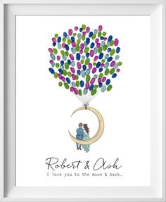 Love Moon Wedding Guest Book. Perfect for country and romantic weddings, engagement parties, bridal showers and more! Skin tone and hair color is customizable. Similar to fingerprint tree, guestbook alternative