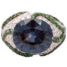 Blue Spinel, Tsavorite & Diamond Ring