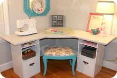 PitterAndGlink: {Craft Room Corner Desk} DIY Tutorial.  Looks easy enough...I wonder if I could extend it to allow it to become a two-person desk?