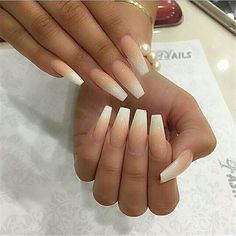 33 French Fade With Nude And White Ombre Acrylic Nails Coffin Nails - Styles Art Coffin Nails Ombre, Long Acrylic Nails, Long Nails, Acrylic Nails For Spring, Cute Nails, Pretty Nails, My Nails, Ambre Nails, Faded Nails