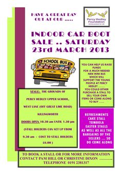 We have an indoor car boot sale tomorrow at Percy Hedley Upper School. Why not pop along and pick up a bargain?