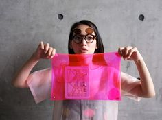 202FACTORY neon pink transparent clutch
