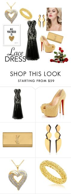 """Love is born  in the spring"" by fatimka-becirovic ❤ liked on Polyvore featuring Christian Louboutin, Yves Saint Laurent, Hervé Van Der Straeten and lacedress"