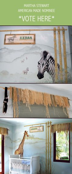 Zoo Themed Nursery with Hand-Painted Murals, Zoo Signs, and Bamboo & Rafia Window Treatments: Juvenile Hall Design; creators of kids room design & decor.  Please support us with your vote! #juvenilehalldesign http://www.marthastewart.com/americanmade/nominee/80332?xsc=SOC_AM_NomFB