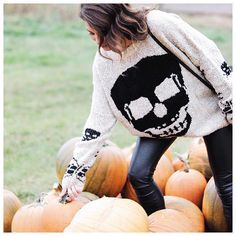 Can't get enough of this skull #sweater and leather legging combo! @jillian.harris