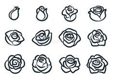 Black and white rose flower vector illustration. Nature, gardening, love, Valentine`s day theme. Simple Flower Drawing, Simple Rose Tattoo, Valentines Illustration, Simple Illustration, White Rose Flower, White Roses, Rose Vector, Rose Doodle, Rose Outline