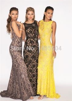 Sexy Sheath Floor length Backless Tulle See through Lace Backless sheer Prom Gowns Zipper Gold See through Party 2015 New Fiesta