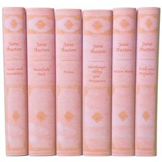 A beautiful edition of Jane Austen's complete works in book jackets that look like luxurious pink leather bindings. The set includes Emma, Sense and Sensibility, Pride and Prejudice, Mansfield Park, Northanger Abbey and Persuasion, Austen's Minor Works. This set is brand new from Oxford University Press in custom book jackets. $187.